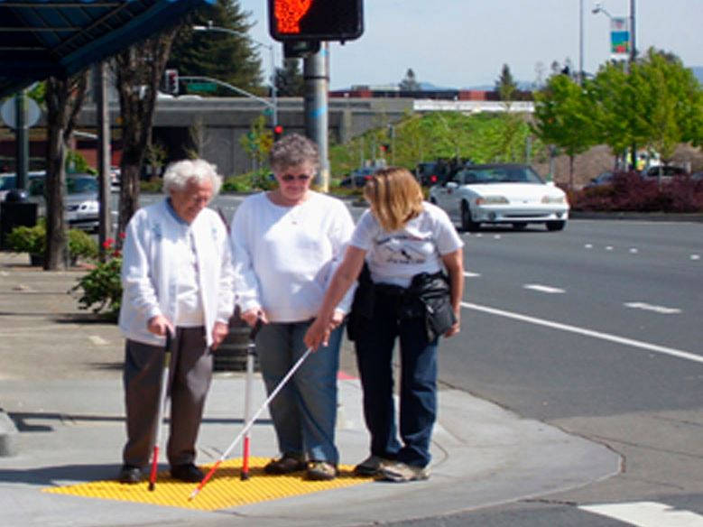 training blind person to use crosswalk