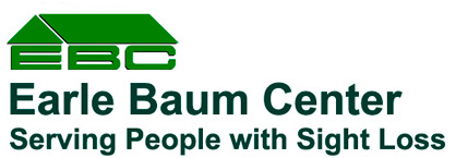 Earlebaum Center Logo comprised of a green roof covering the initials EBC and the tagline Serving People with Sight Loss