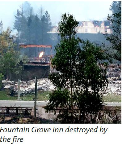 The Fountain Grove Inn after the fires