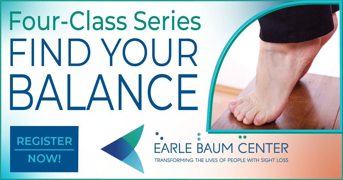 Four-Class Series FIND YOUR BALANCE, next to the words is a photo of two bare feet balancing on thier toes, underneath are more words saying register now and then the EBC logo