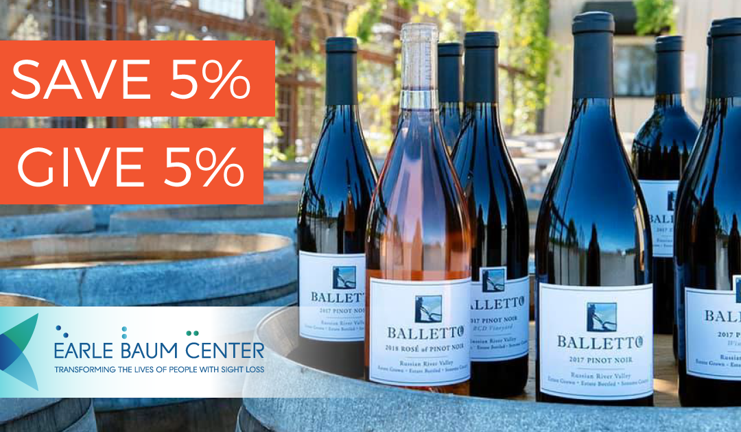 Balletto wines displayed on barrels promoting save 5 percent and give 5 percent with purchase