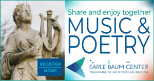 Share and enjoy togetherto the left is a photo of a stone sculpture of a woman in a flowing gown holding a lyre MUSIC & POETRY register now and the EBC logo