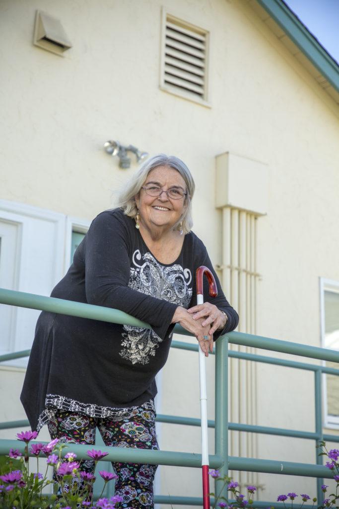 An image of Karen arriving for a visit at Earle Baum Center