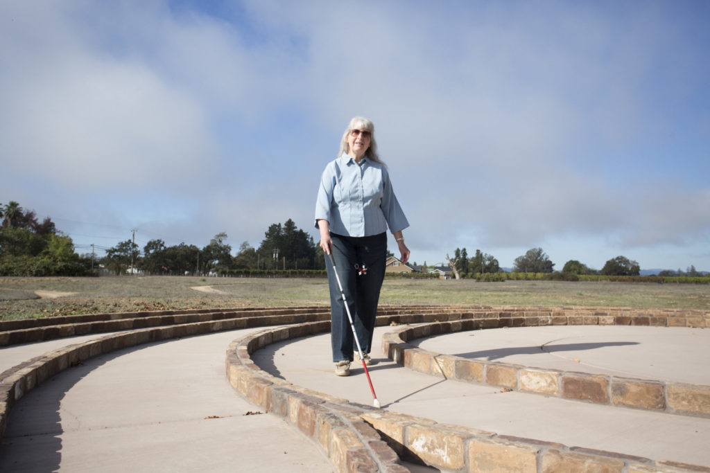Nancy navigates the new Labyrinth path at EBC.